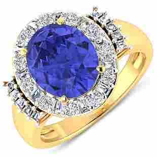 Natural 4.58 CTW Tanzanite & Diamond Ring 14K Yellow