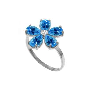 Genuine 2.22 ctw Blue Topaz & Diamond Ring 14KT White