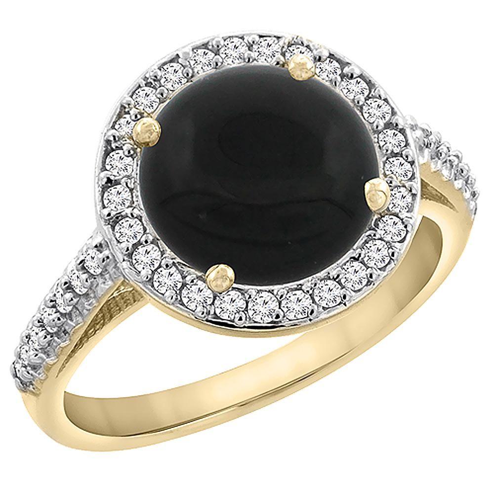 2.76 CTW Onyx & Diamond Ring 14K Yellow Gold -