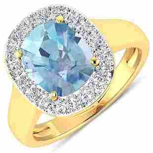 Natural 3.51 CTW Aquamarine & Diamond Ring 14K Yellow
