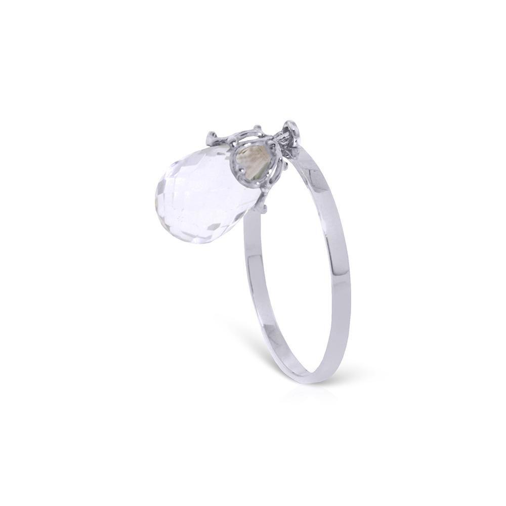 Genuine 3 ctw White Topaz Ring 14KT White Gold -