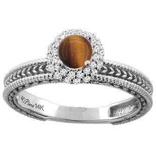 0.85 CTW Tiger Eye & Diamond Ring 14K White Gold -