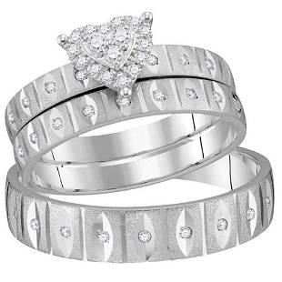 Diamond Heart Matching Wedding Set 1/4 Cttw 14KT White