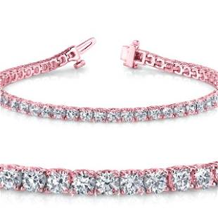 Natural 4.02ct VS2-SI1 Diamond Tennis Bracelet 14K Rose