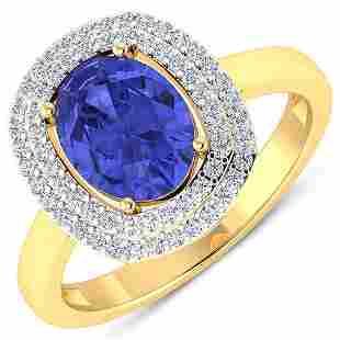 Natural 1.88 CTW Tanzanite & Diamond Ring 14K Yellow