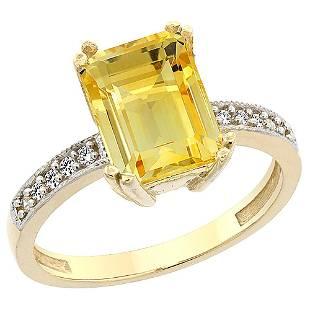 3.70 CTW Citrine & Diamond Ring 14K Yellow Gold -