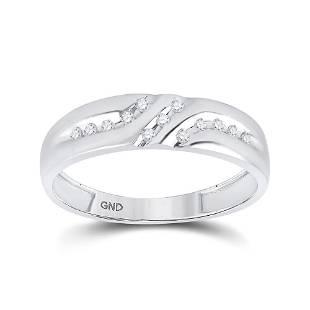Round Diamond Wedding Band Ring 1/8 Cttw 10KT White