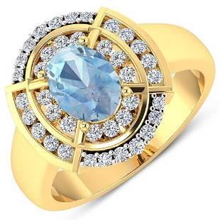 Natural 2.57 CTW Aquamarine & Diamond Ring 14K Yellow