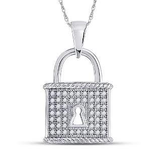 Round Diamond Key Lock Dangle Pendant 1/8 Cttw 10KT
