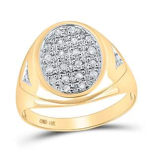 Round Diamond Oval Cluster Ring 1/4 Cttw 14KT Yellow