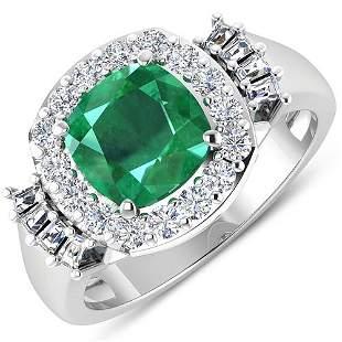 Natural 2.73 CTW Zambian Emerald & Diamond Ring 14K