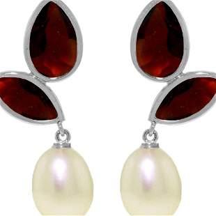 Genuine 16 ctw Pearl, Garnet & Garnet Earrings 14KT