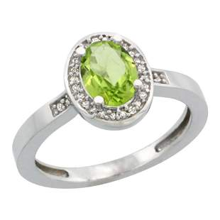 1.15 CTW Peridot & Diamond Ring 10K White Gold -