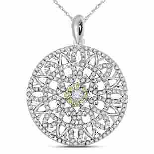 Round Diamond Mandala Circle Pendant 1 Cttw 14KT White