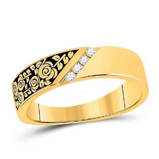Round Diamond Flower Rose Band Ring 1/12 Cttw 14KT