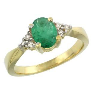 1.06 CTW Emerald & Diamond Ring 14K Yellow Gold -