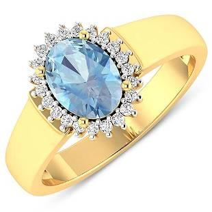 Natural 2.2 CTW Aquamarine & Diamond Ring 14K Yellow