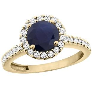 1.43 CTW Blue Sapphire & Diamond Ring 10K Yellow Gold -