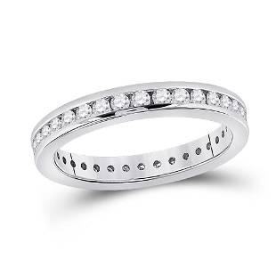 Round Diamond Eternity Wedding Band 7/8 Cttw 14KT White