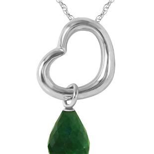 Genuine 3.3 ctw Green Sapphire Corundum Necklace 14KT