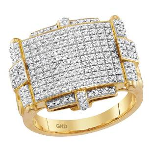 Round Yellow Diamond Rectangle Cluster Ring 5/8 Cttw
