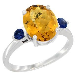 2.64 CTW Quartz & Blue Sapphire Ring 14K White Gold -