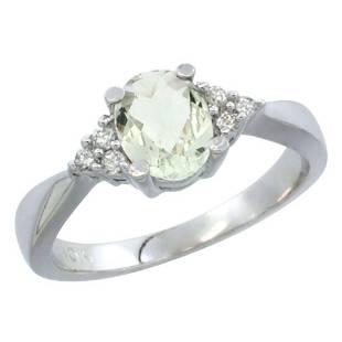 1.06 CTW Amethyst & Diamond Ring 14K White Gold -