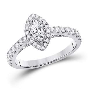 Halo Bridal Wedding Engagement Ring 1 Cttw 14KT White