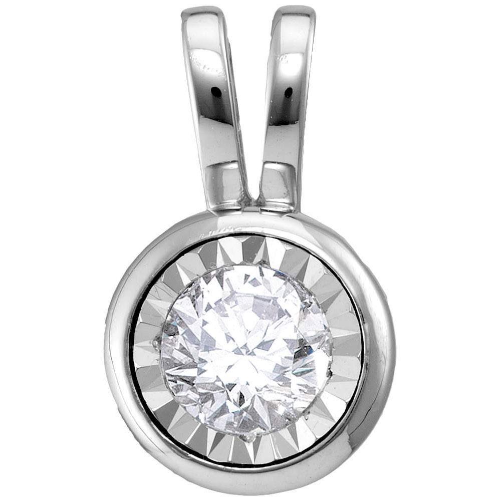Round Diamond Solitaire Pendant 1/4 Cttw 10KT White