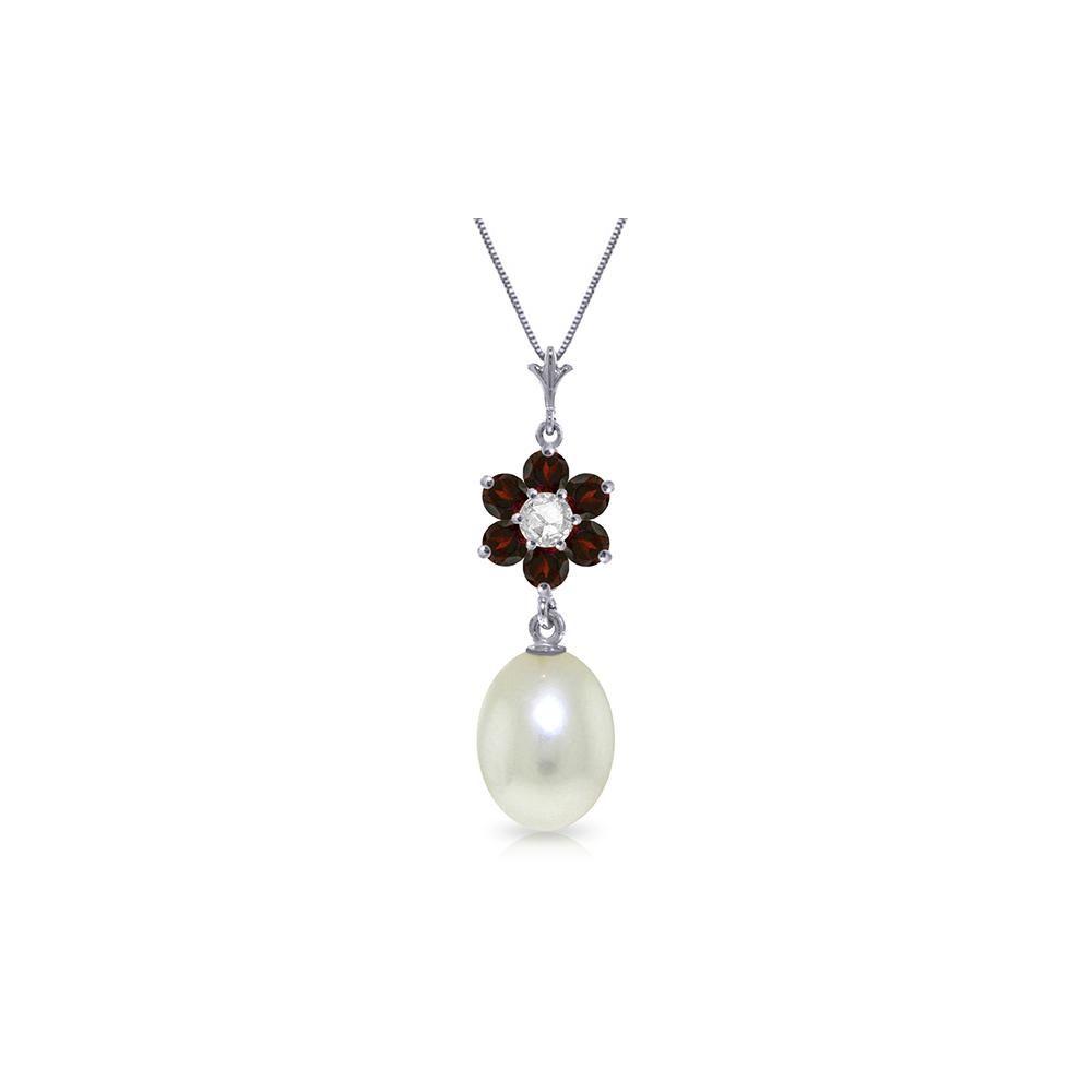 Genuine 4.53 ctw Pearl, Garnet & Diamond Necklace 14KT