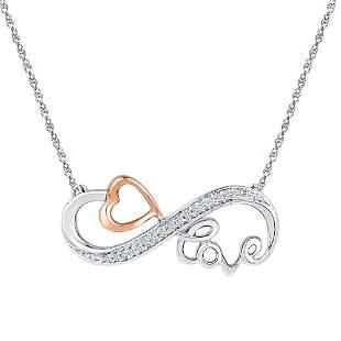 Round Diamond Heart Love Infinity Necklace 1/20 Cttw
