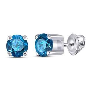 Round Blue Color Enhanced Diamond Solitaire Stud