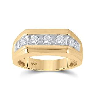 Round Diamond Flat Top Band Ring 1 Cttw 10KT Yellow