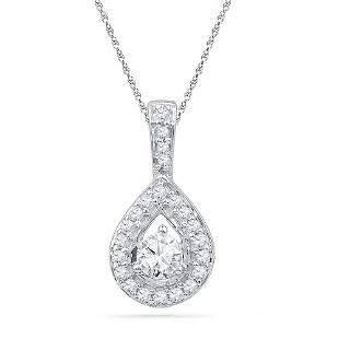 Round Diamond Teardrop Pendant 1/3 Cttw 10KT White Gold