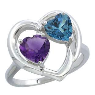 2.61 CTW Diamond, Amethyst & London Blue Topaz Ring 14K