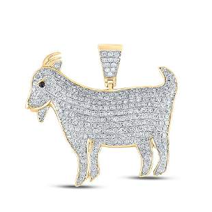 Round Diamond Goat Animal Charm Pendant 2-7/8 Cttw 10KT