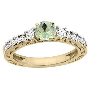 1.10 CTW Amethyst & Diamond Ring 14K Yellow Gold