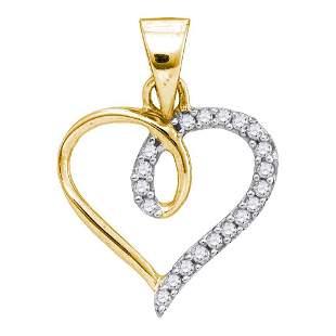 Round Diamond Heart Pendant 1/10 Cttw 10KT Yellow Gold