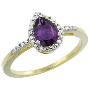 1.55 CTW Amethyst & Diamond Ring 10K Yellow Gold