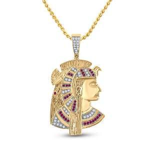 Round Ruby Diamond Pharaoh Charm Pendant 1 Cttw 10KT