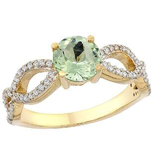 1 CTW Amethyst & Diamond Ring 14K Yellow Gold