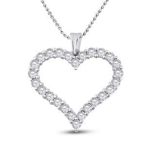 Round Diamond Outline Heart Pendant 2 Cttw 14KT White