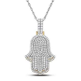 Round Diamond Hamsa Hand Charm Pendant 4 Cttw 14KT