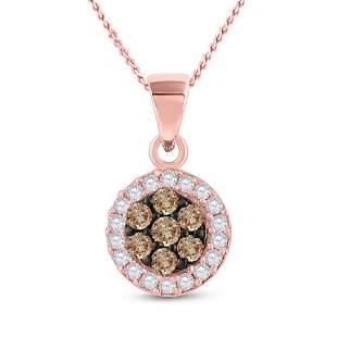 Round Brown Diamond Flower Cluster Pendant 3/8 Cttw
