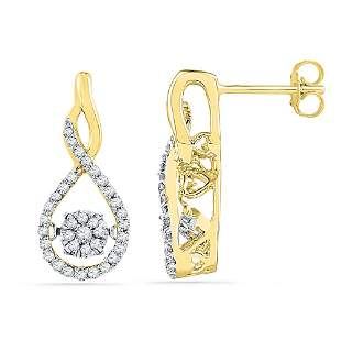 Round Diamond Moving Cluster Earrings 1/3 Cttw 10KT