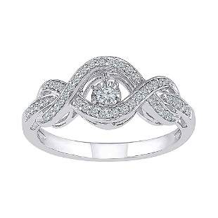 Round Diamond Moving Twinkle Solitaire Ring 1/4 Cttw