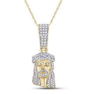 Round Diamond Jesus Face Charm Pendant 1/2 Cttw 10KT
