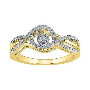 Round Diamond Moving Twinkle Solitaire Ring 1/6 Cttw
