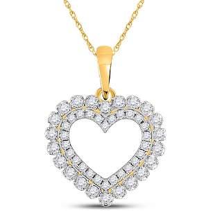 Round Diamond Double Outline Heart Pendant 3/8 Cttw