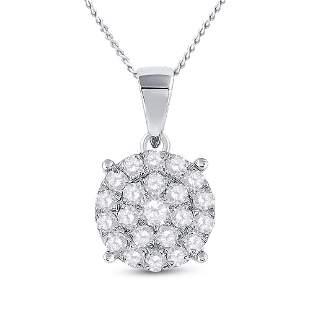 Round Diamond Cluster Pendant 2 Cttw 10KT White Gold